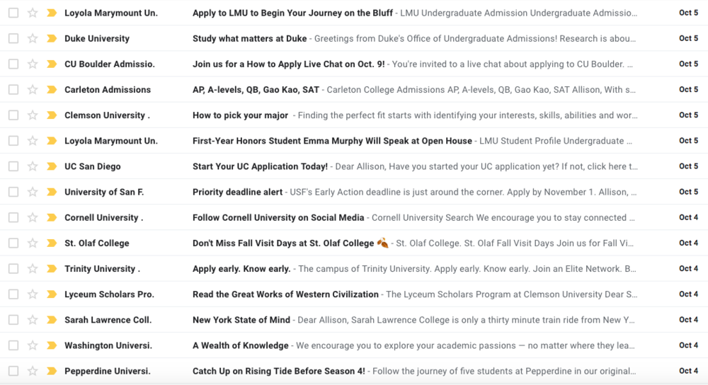 Students who opt into receiving emails from colleges when they take the PSAT may find their inbox flooded daily with dozens of new emails from colleges. Many of these schools track whether students open college emails or click the links inside.