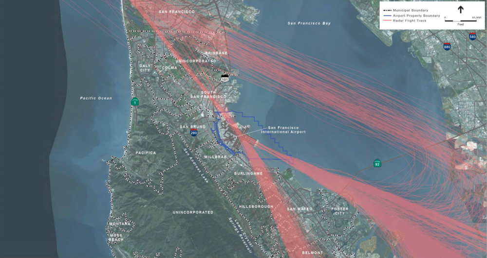 The radar paths of planes landing on runway 28L and 28R, the most common approach to SFO, in 2014.