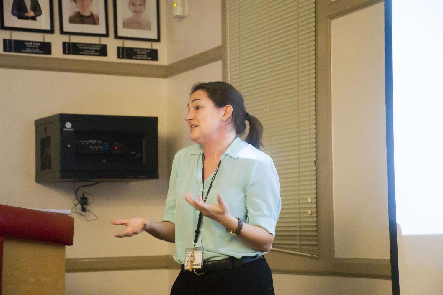 Dr. Kimberly Rosania informs parents of San Mateo Union High School District students about how to seek treatment for their loved ones suffering from eating disorders.