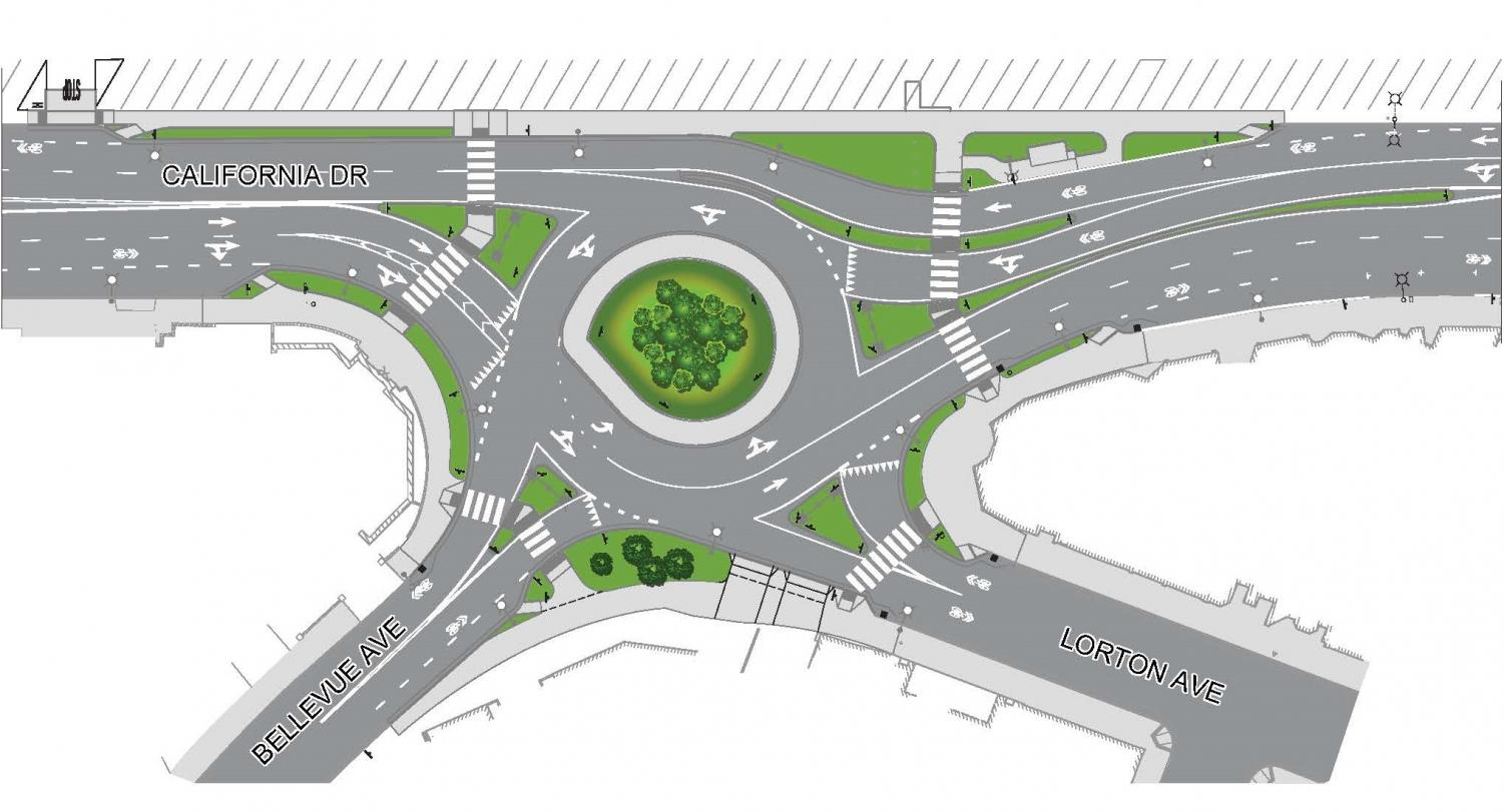 The roundabout on California Dr. is scheduled to be completed in February.