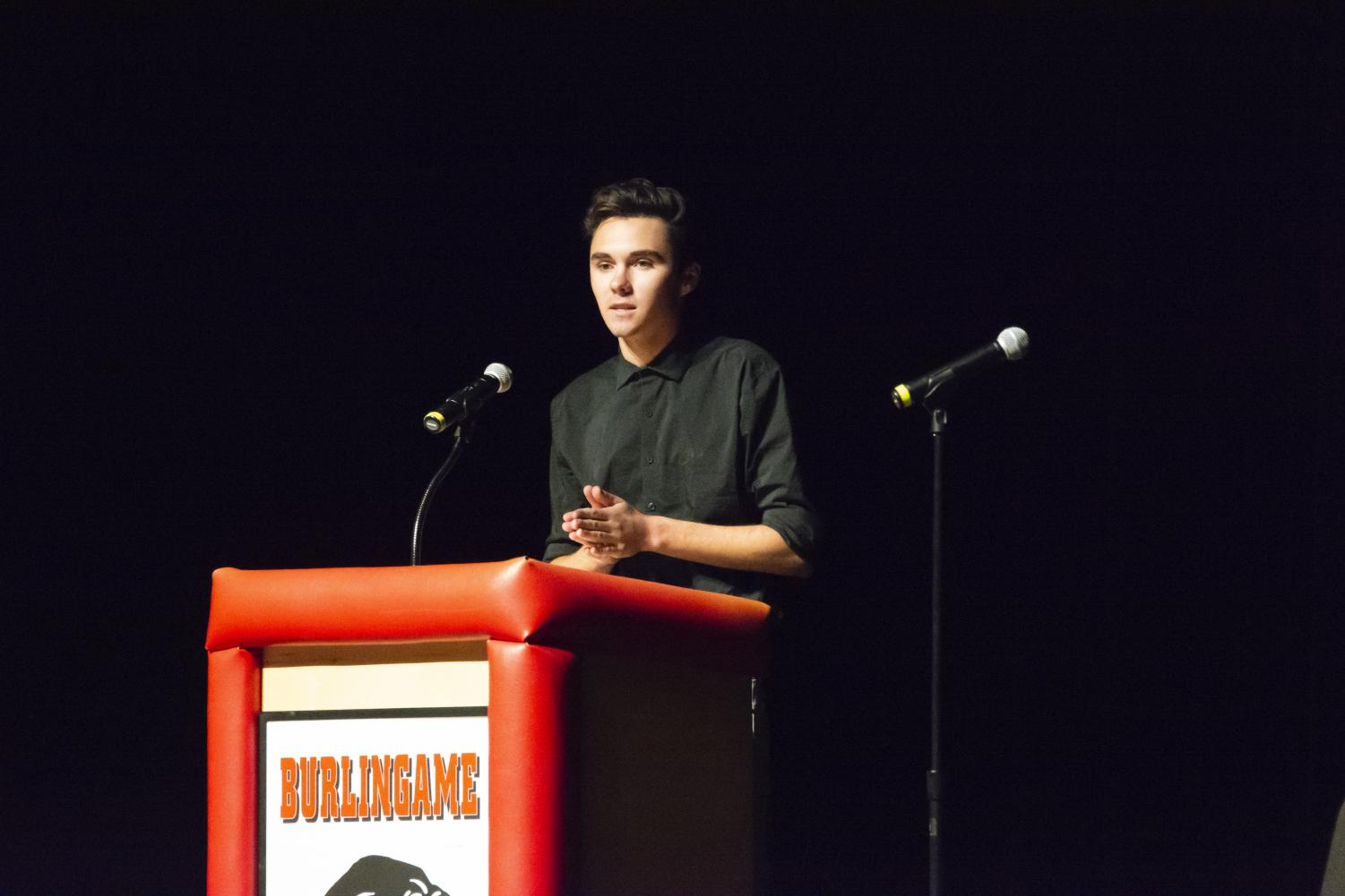 Former student David Hogg speaks at the March For Our Lives panel on Jan. 26