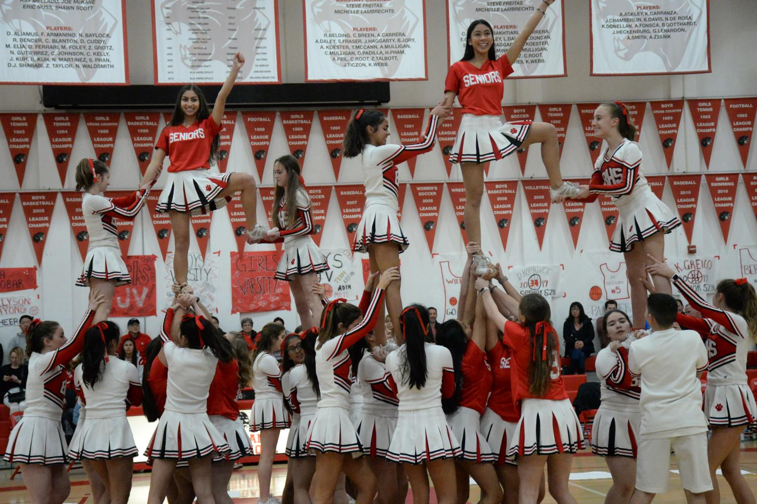 The Burlingame cheer squad performed on Feb. 1 for senior night, the last home game of the basketball season.