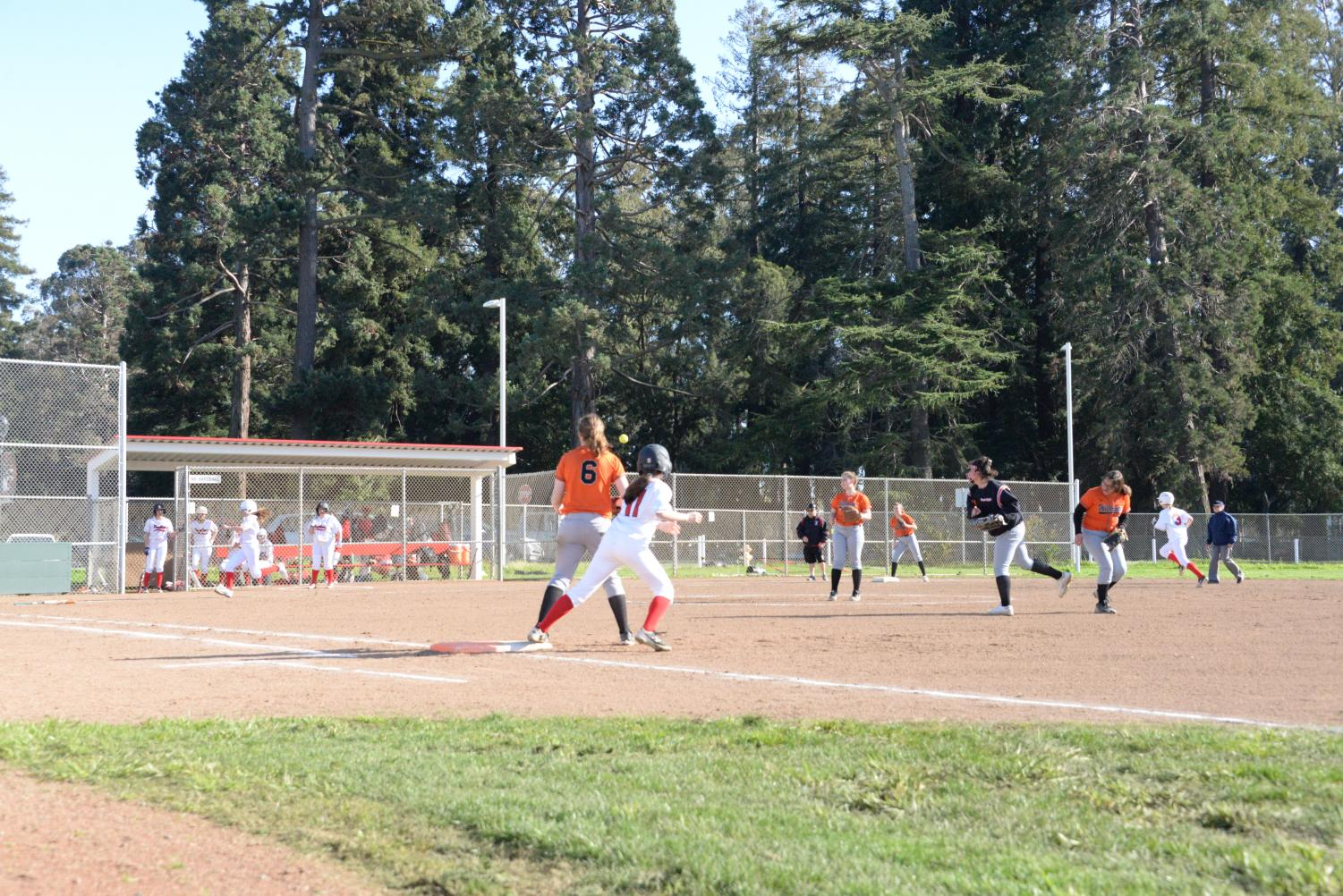 The junior varsity softball team has its first home game