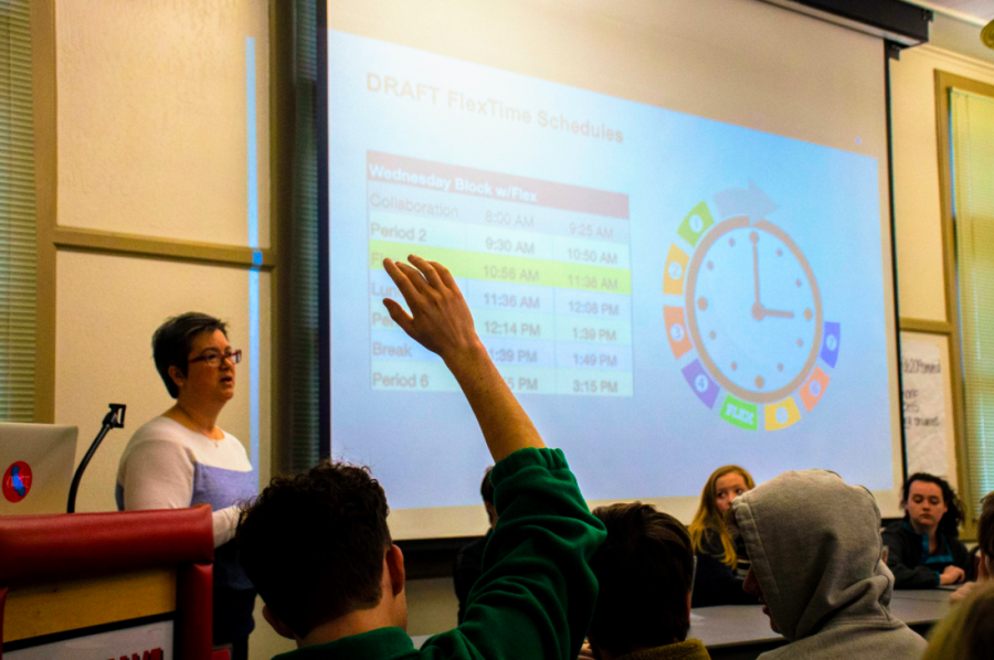 Assistant Principal Valerie Arbizu describes the new schedule and receives student input at the student council meeting.