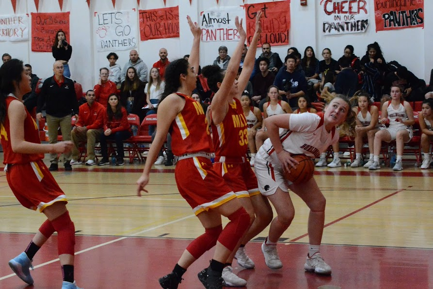 Freshman Ava Ulrich pushes past the mills defense.