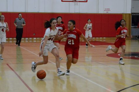 Brianna Grossman pushes past an El Camino defender at their second CCS game on Feb. 22 at Burlingame.
