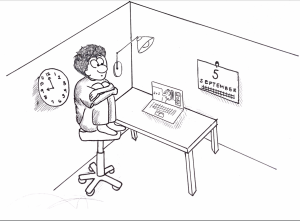 A student sits at his desk, where he is learning via Zoom.