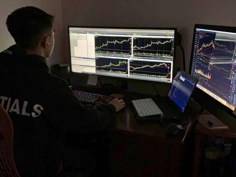 While examining stock charts, senior Brandon Fong searches for potential catalysts and patterns. He also draws support or resistance lines to help with his analysis.