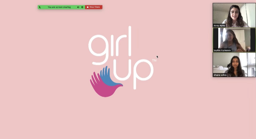 The Girl Up Club holds a Zoom meeting with President Anna Porto, Vice President Shaira Vohra and Treasurer/Secretary Sophie Kamenov.