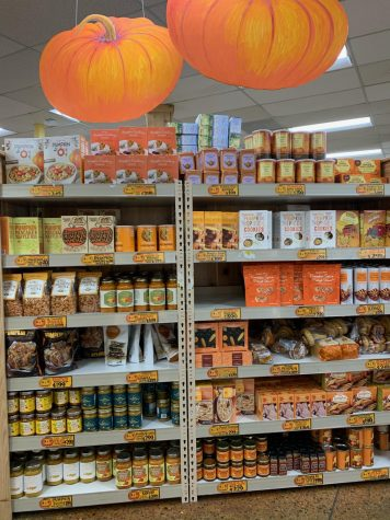 A whole shelf dedicated to pumpkin and fall themed foods is located at the back of the Trader Joe's store on S. Grant St. in San Mateo.
