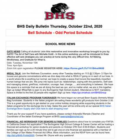 The Daily Bulletin is updated everyday with new information regarding volunteer opportunities, jobs, and general information for students.
