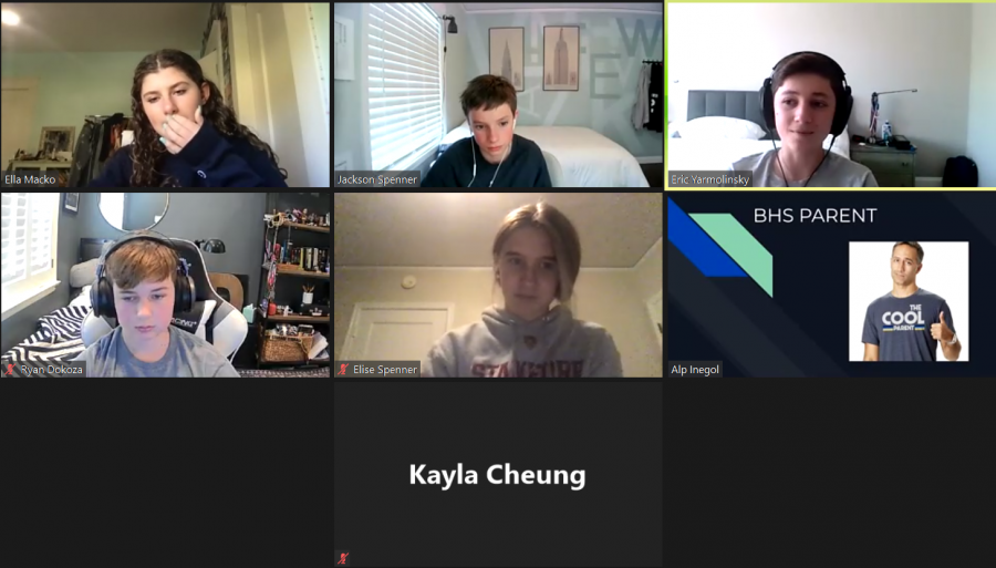 New members of the Model UN team discuss real world scenarios over Zoom.