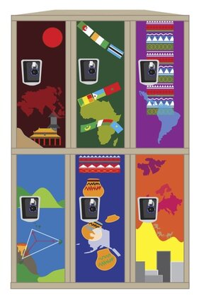 Each locker depicts different regions of the world and different cultures in an attempt to represent the diversity of Burlingame. Speakers at the Board meeting expressed the need for cultural and ethnic representation in order to make students feel included.  *note: The artist chose to represent cultures broadly but was unable to include all cultures. She appreciates and recognizes the need for representation and attempted to do so through nonspecific symbols for geographical regions.