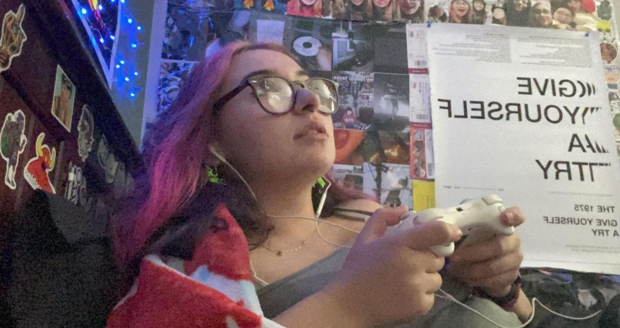 "Burlingame student Isabella Dal Porto playing Nintendo's ""Super Smash Brothers Ultimate"" in her free time."