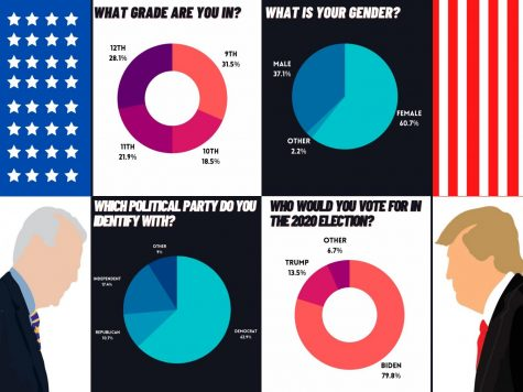 A visual graph depicting data from the gender, grade level and political views from Burlingame students in a poll taken in September.