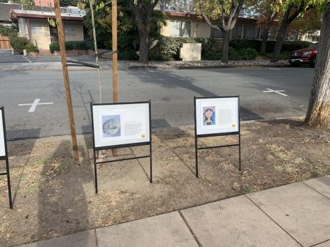 Students submitted artwork to the Burlingame Public Library in October which was displayed outside Burlingame City Hall.