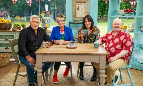 "The most recent season of ""The Great British Bake Off"" features new host Matt Lucas alongside returning host Noel Fielding and returning judges Paul Hollywood and Prue Leith."