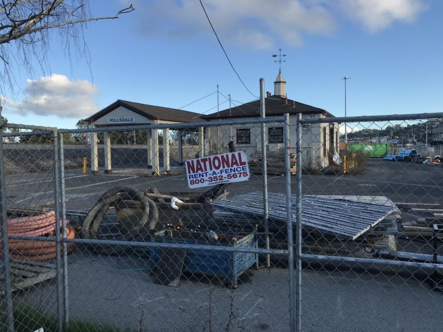 The Hillsdale Caltrain station is under construction to increase accessibility.