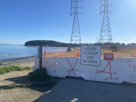 Barricades surround the Bay Trail and Coyote Point flood construction site, forcing residents to take a detour near Highway 101.