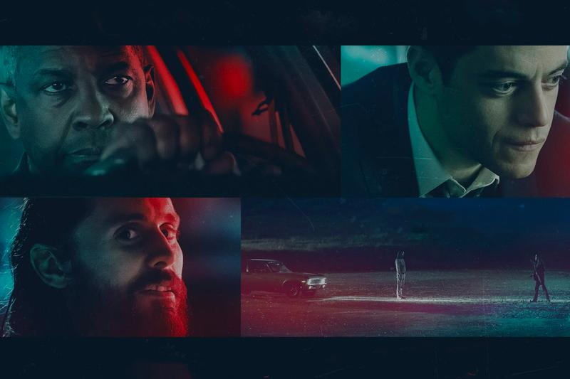 "Images of lead actors Denzel Washington (top left), Rami Malek (top right) and Jared Leto (bottom left) from the movie ""The Little Things."""