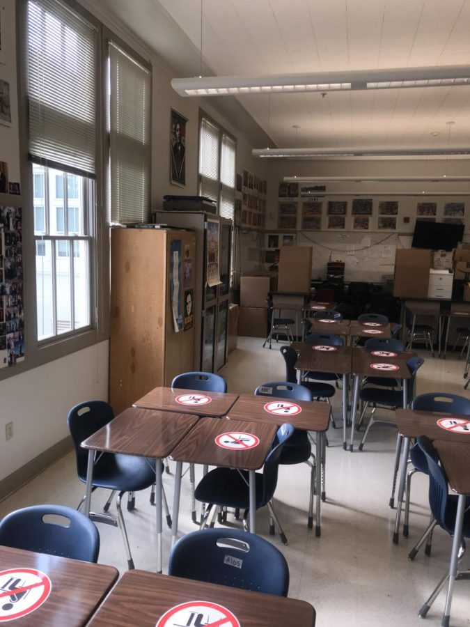 On a hot day, rooms that lack air conditioning, like A105, quickly become overheated due to the poor ventilation, an issue that has become increasingly worrisome for teachers who will soon return to teaching in person.