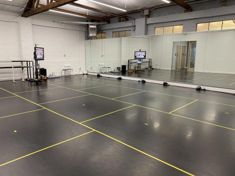 Dance studios follow COVID-19 safety protocols, including temperature checks, sanitization and six foot boxes.