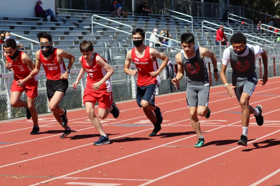Burlingame and El Camino boys start a grueling 1600-meter race. While El Camino nabbed first place, Burlingame senior Bing Lin achieved a new personal record in the event.
