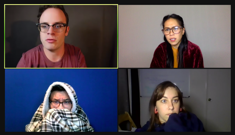 """Professional actors David Lee Huynh, Michelle Skinner, Nicole Javier and Sean Okuniewicz perform junior Aideen Delahunt's one-act """"Theodore"""" over Zoom."""