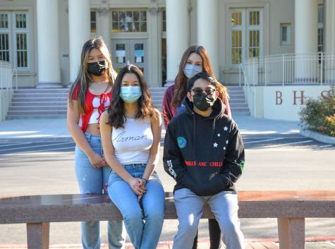 Juniors Vinia Ng, Mariel Arreola, Elisenne Yun and Jacob Viduya are excited to work together to start the in-person year off strong.